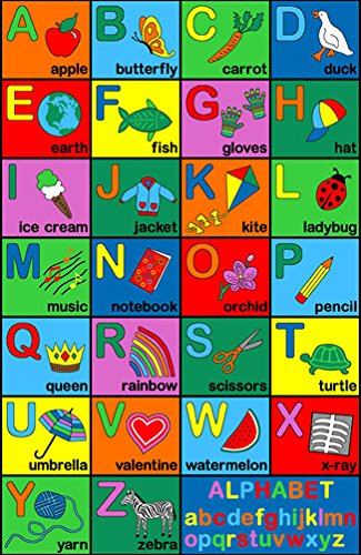 Play Time Kids Area Rug Alphabet Learning Carpet Design 1(4ft.X5ft.9in.)