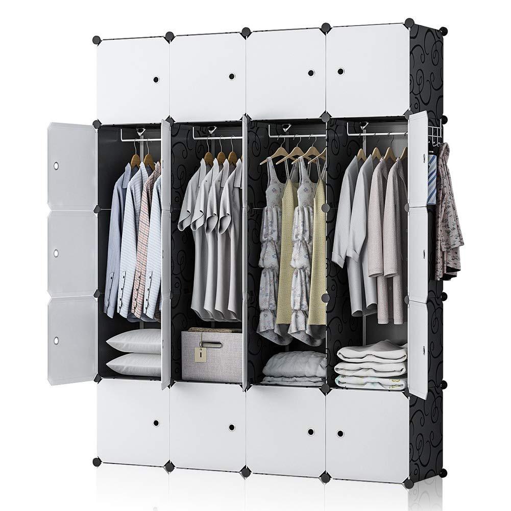GEORGE DANIS Portable Wardrobe Closet Plastic Dresser Bedroom Armoire DIY Cube Storage Organizer, Black, 18 inches Depth, 4×5 Tiers