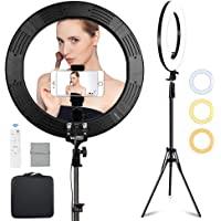 Volkwell 19-inch Dimmable LED Ring Light, Wireless Remote Control Selfie Ringlight with Tripod Stand Phone Holder and…