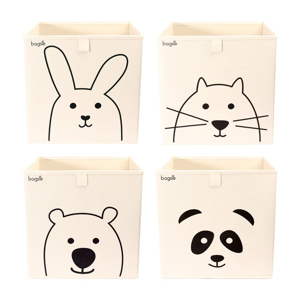 Storage Bins Box Basket 13 inch Toy Organizer (4 Cubes/Bear Rabbit Cat Panda)