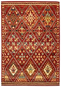 "Stone & Beam Traditional Detailed Diamond Rug, 5' x 7'5"", Rust"