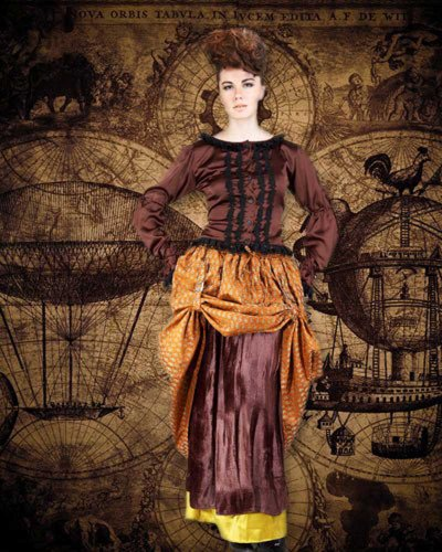 [Steampunk Victorian Desdemona Dual Skirt (x-large)] (Desdemona Costume)