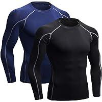 Niksa 2 Pièces T-Shirt de Sport Compression Homme Maillot Manches Longues Vetement de Fitness Football Jogging Cyclisme