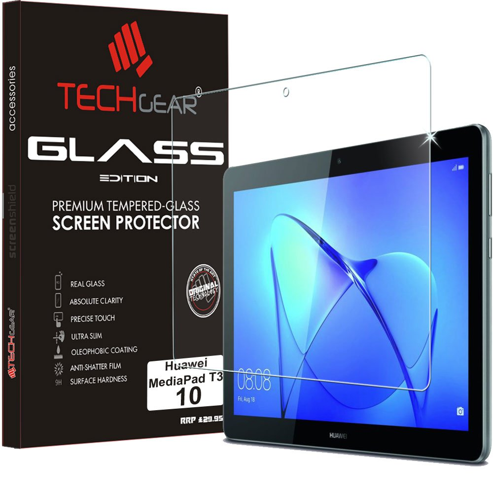 "TECHGEAR GLASS Edition for Huawei MediaPad T3 10 (9.6"" Screen), Genuine Tempered Glass Screen Protector Guard Cover"