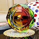 Home Ashtray Crystal Glass Cigarettes Windproof Living Room Multifunctional Indoor Outdoor Ashtray (Colorful Color) ( Size : 25CM )