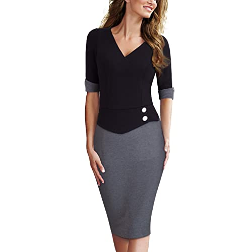 HOMEYEE Womens Elegant Chic V-Neck Roll-up Sleeve Patchwork Formal Office Lady Dress