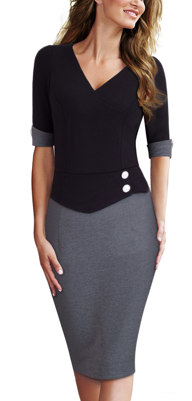 HOMEYEE Women's Official Wear to Work Half Sleeve V Neck Pencil Bodycon Dress B364 (4, Black + Gray)