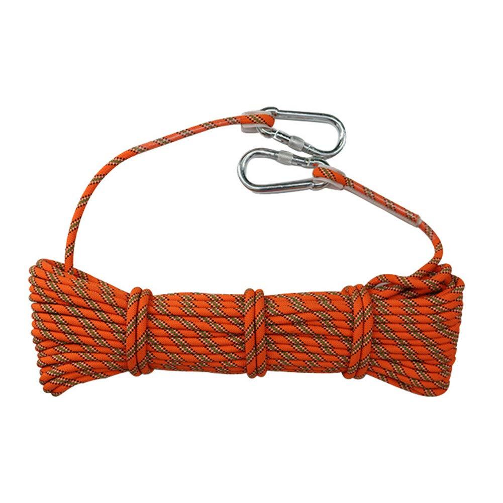 Cuerda de escalada para exteriores, cuerda de seguridad de escape de poliéster Cable de operaciones de gran altitud resistente al desgaste de 8 mm Cuerdas para montañismo para exteriores,Orange,20m