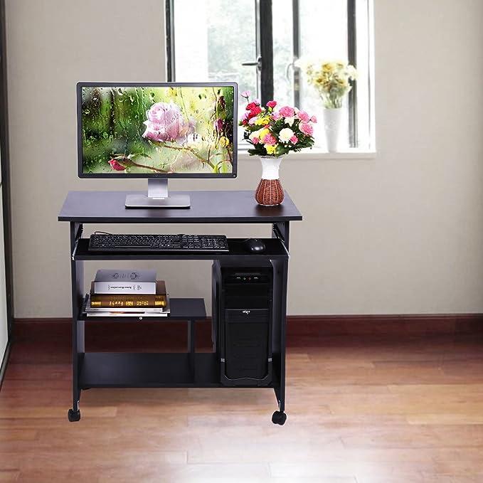 GOTOTOP Computertisch Modern Simpel Schreibtisch Hölzern PC Tisch Mit  Keyboardständer Und Rolle Für Hause Und Bürosarbeit, 80 X 48 X 74,5 Cm  (Schwarz): ...