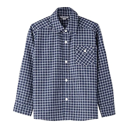 Bienzoe Boy's Flannel Button Down Long Sleeve Plaid Shirt Navy - Old Shorts Navy 7
