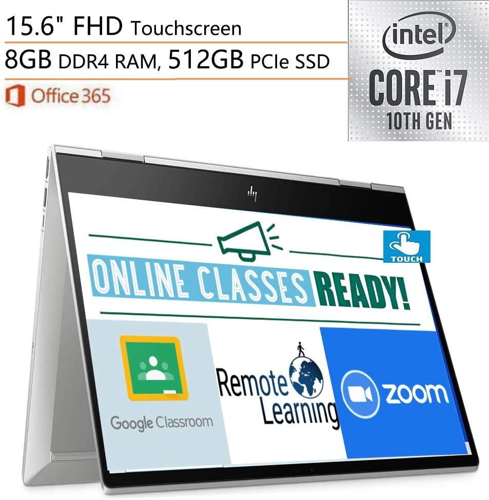 "2020 HP Envy x360 2-in-1 Laptop Computer, 15.6"" FHD Touchscreen, 10th Gen Intel Quard-Core i7-10510U, 8GB DDR4, 512GB PCIe SSD, WiFi 6, Windows 10, Online Class Ready, iPuzzle External DVD Drive"