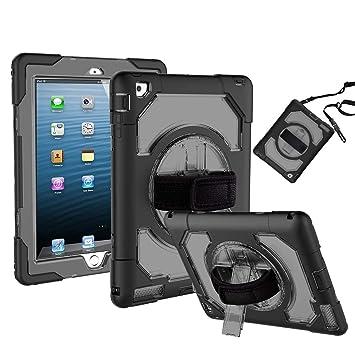 FAN SONG Funda Silicona Resistente Antigolpes para iPad 2 3 4 Generación 9,7 Pulgada, Negro