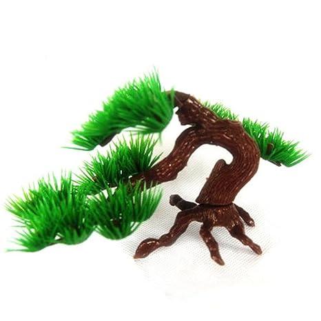 Adorno de pecera para acuario, roca, bonsai, plástico, planta de árbol de