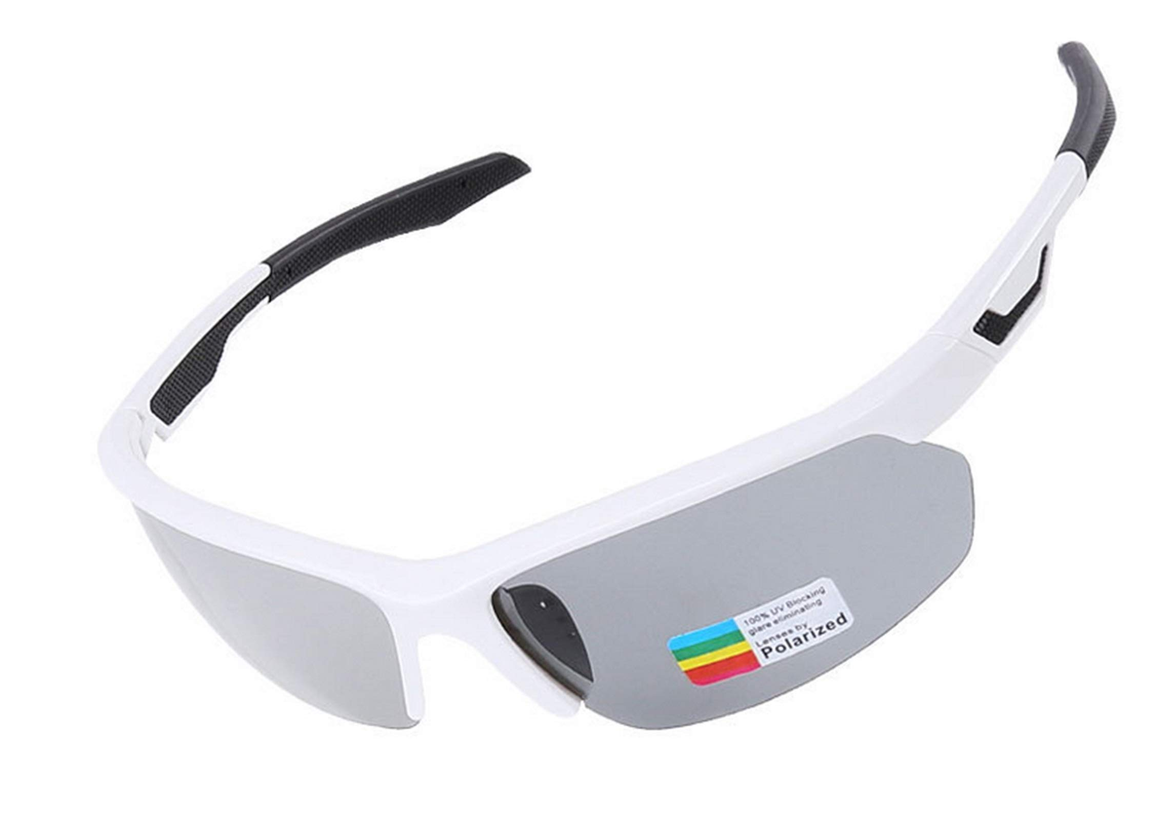 Adisaer Cycling Glasses Wind Cycling Color Changing Polarized Riding Sports Glasses White Black for Adults