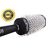 Professional Round Hair Brush For Blow Drying & Straightening Long Hair - Round Ceramic Barrel Helps Retain Heat For Easy & Fast Blow Drying Results. Perfect Hair Brush For Long Or Thick Hair.