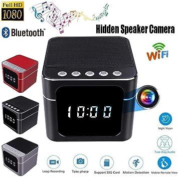 Cámara Oculta Wireless Wifi Portable Mini HD 1080P WI-FI Reloj Cámara Oculta Bluetooth Altavoz Reproductor De Música Wireless Video Recorder Cámara Espía IR ...