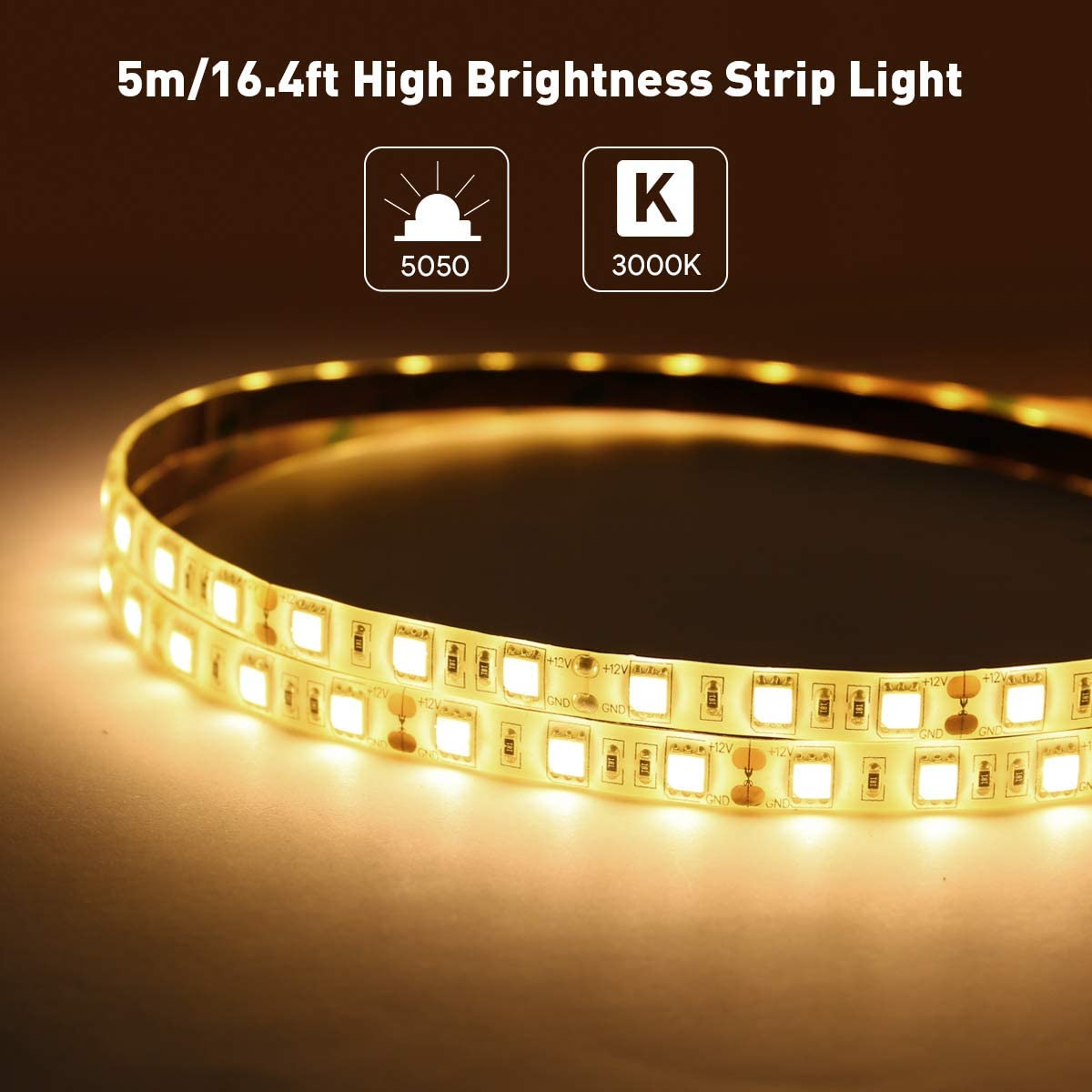 LE 12V LED Light Strip Waterproof Party Christmas and More Warm White 300 LEDs SMD 5050 5m Tape Light for Home Flexible Kitchen