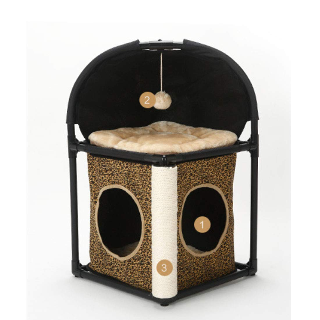 Leopard print Hyue Cat House Easy Condo Kitten Activity Tower Climbing Frame Nest Jumping Platform Detachable Combination Nest (color   Leopard Print)