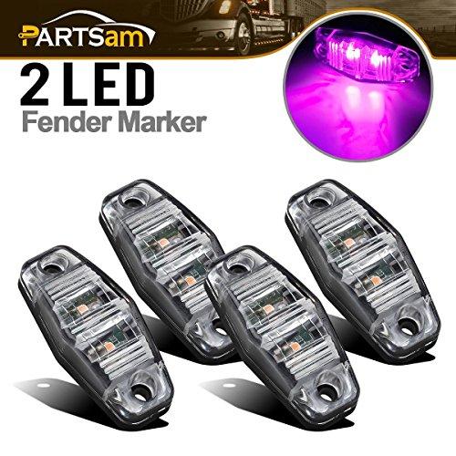 Purple Led Side Marker Light - Partsam 4pcs Waterproof Pink Purple LED Side Marker Lights For Cars Truck Trailer Lorry Van Pickup