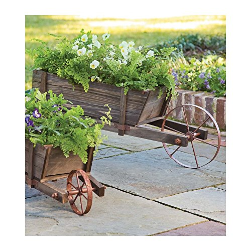 Large Decorative Solid Wood Outdoor Vintage Style Wheelbarrow Planter with Functional Wheel 43.25 L x 15 W x 15.25 H