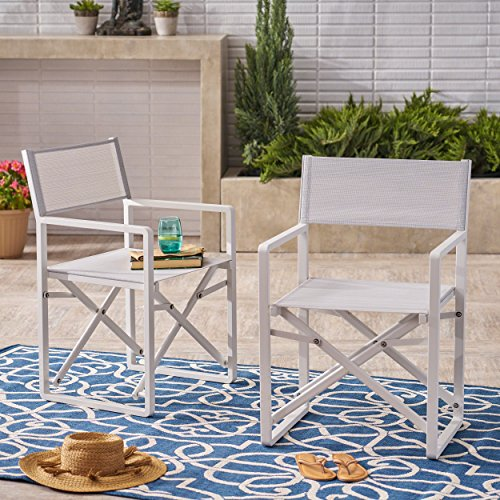 Great Deal Furniture | Teresa | Outdoor Mesh and Aluminum Director Chairs | Set of 2 | in - Chairs Arm Aluminum