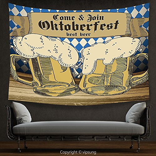 Ny Tourist Costume (House Decor Tapestry Oktoberfest Decorations Collection Oktoberfest Design Famous Costume Tourist Attraction Travel Destination Blue Beige Wall Hanging for Bedroom Living Room Dorm)