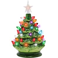 """Joiedomi 9"""" Tabletop Prelit Ceramic Christmas Tree with LED Lights Battery Powered, Mini Christmas Tree Decoration"""