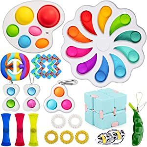 VARWANEO Flower Fidget Toys Pack Cheap with Simple Dimple, Sensory Figit Toys Set for Kids Adults Relieves Stress and Anxiety Gifts