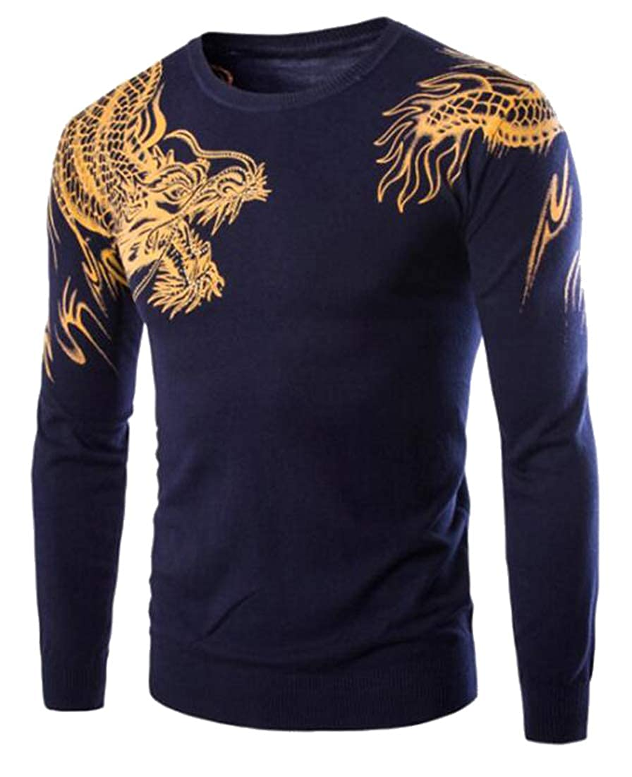 Jofemuho Mens Printing Casual Round Neck Slim Knitted Pullover Sweaters Jumper