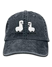 MDFY OEWGRF Llama Alpaca Unisex Adjustable Baseball Caps Denim Hats Cowboy Sport Outdoor