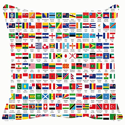 216 Official Flags World Alphabetical Order Clip Art Flag Home Decorative Throw Pillow Case Cushion Cover for Gift Home Couch Bed Car 18