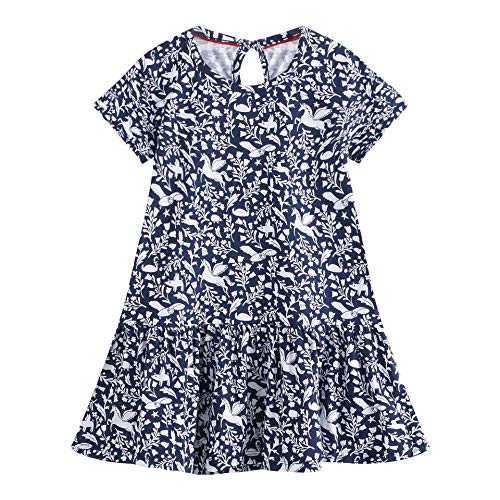 Eocom Little Girls Soft Summer Cotton Short Sleeve Dresses T-Shirt Casual Cartoon Dress (Blue, 4T) (Best Easter Gift Ideas)