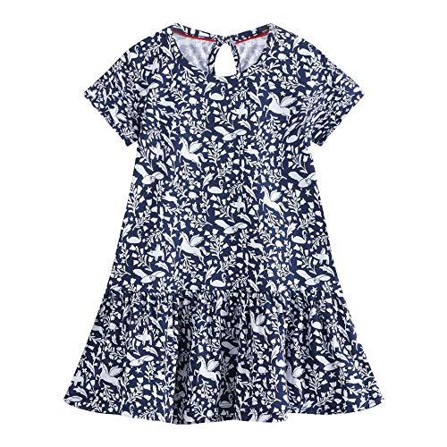 Eocom Little Girls Soft Summer Cotton Short Sleeve Dresses T-Shirt Casual Cartoon Dress (Blue, 5T)]()