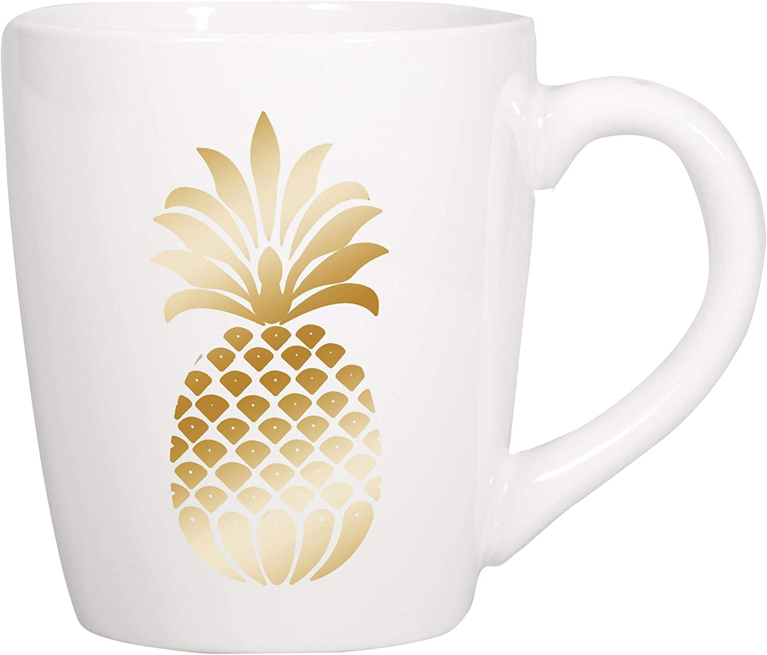 Pineapple Gold Tone On Classic White 22 ounce Glossy Ceramic Coffee Mug