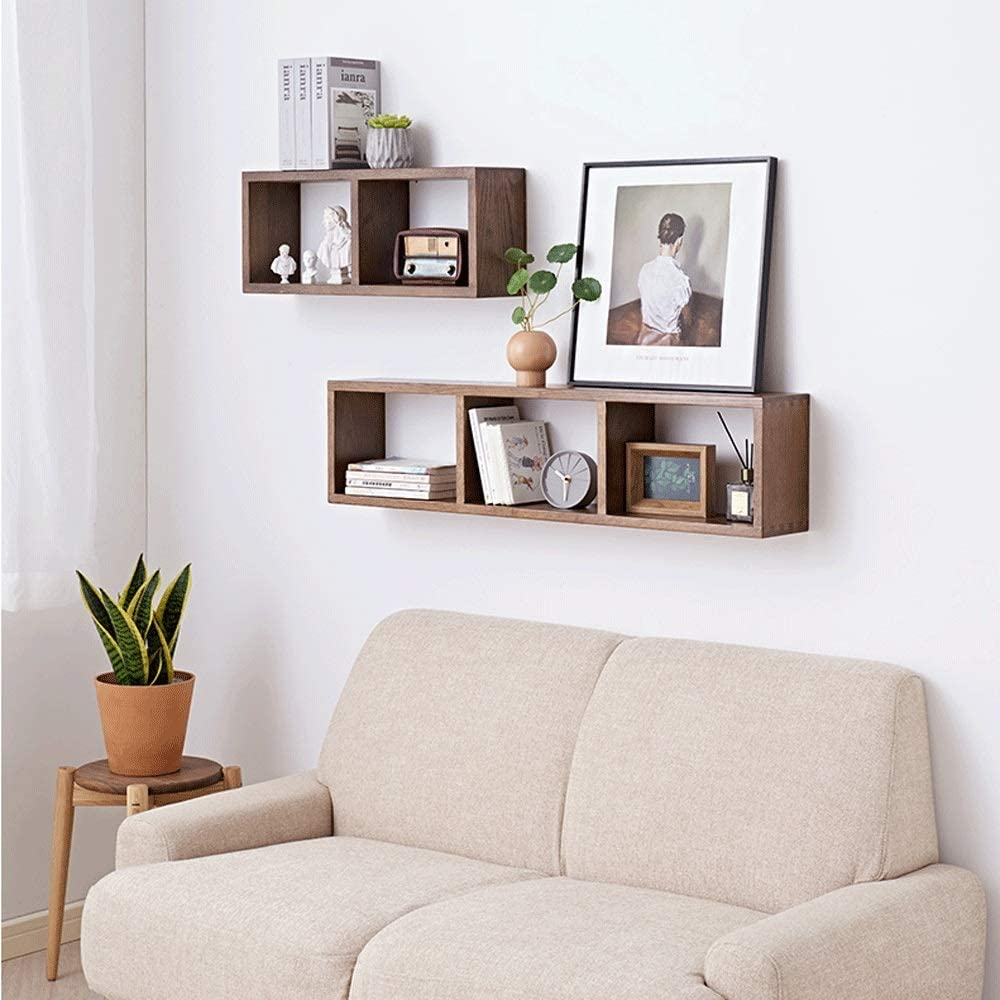 Post Tv Wall Shelf Bedroom Wall Creative Lattice Shelf Storage Solid Wood Wall Shelves For Photos Decorations Brown Size 100 15 24 Cm Amazon Co Uk Kitchen Home