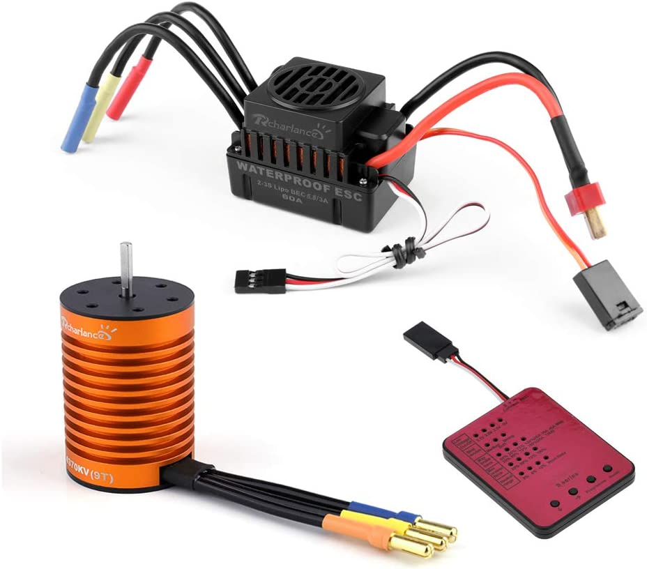 Crazepony-UK 3650 5200KV Sensorless Brushless Motor with 120A ESC Electronic Speed Controller and Programming Card Waterproof Combo Set 3.175mm Shaft for 1//10 RC Car