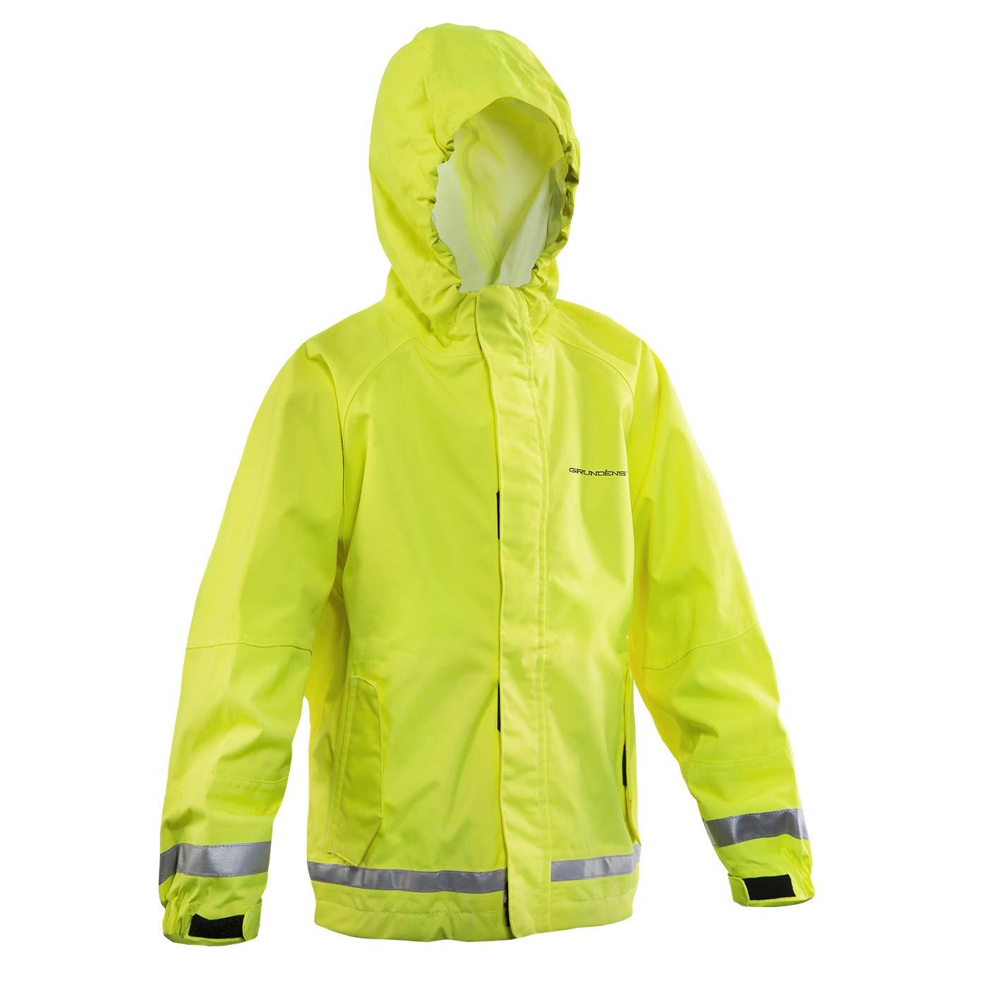 Grundens Gage Kids Waterproof Breathable Hooded Jacket, Hi-Vis Yellow, 16 yr