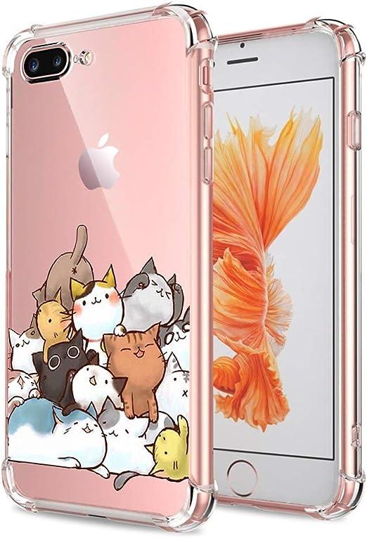 iPhone 7 Plus 8 Plus Case Cat Clear with Design Cute & Funny Cat Pattern Bumper Protective Case for Apple iPhone 7 Plus 8 Plus 5.5 Inch Gel Flexible ...