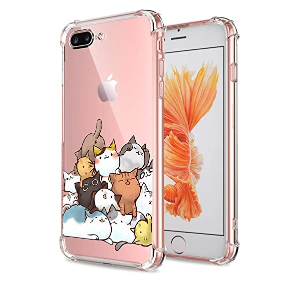 low priced 5d70d e2ad2 iPhone 7 Plus 8 Plus Case Cat Clear with Design Cute & Funny Cat Pattern  Bumper Protective Case for Apple iPhone 7 Plus 8 Plus 5.5 Inch Gel Flexible  ...