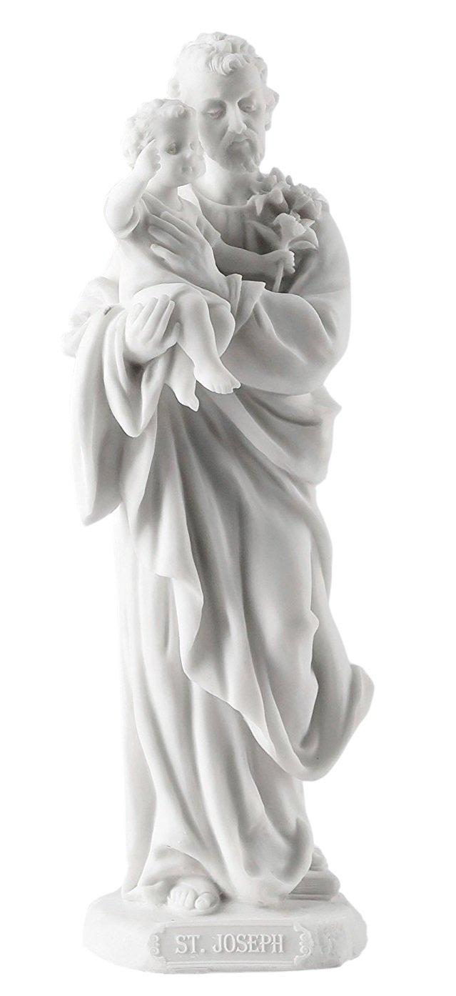 Saint Joseph Holding Baby Jesus Statue Sculpture White