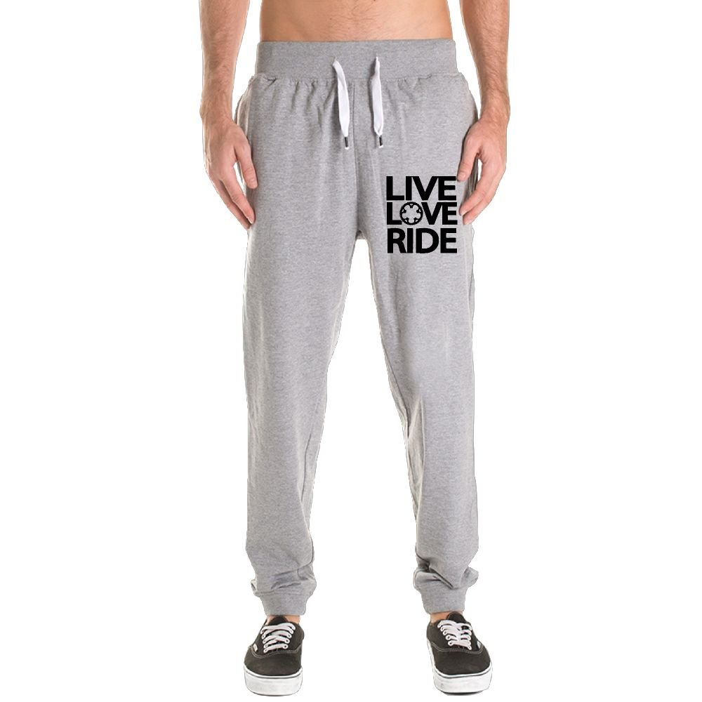 Live Love Ride Men's Jogger Sweatpants Drawstring Elastic Waist Outdoor Running Trousers Pants With Pockets