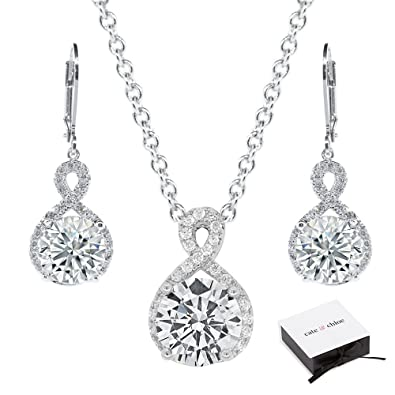 25f73d5f40321 Cate & Chloe Alessandra Jewelry Set, 18k White Gold Cubic Zirconia Pendant  Necklace and Dangle Earrings, Bridal Jewelry Set, Round Cut Necklace ...