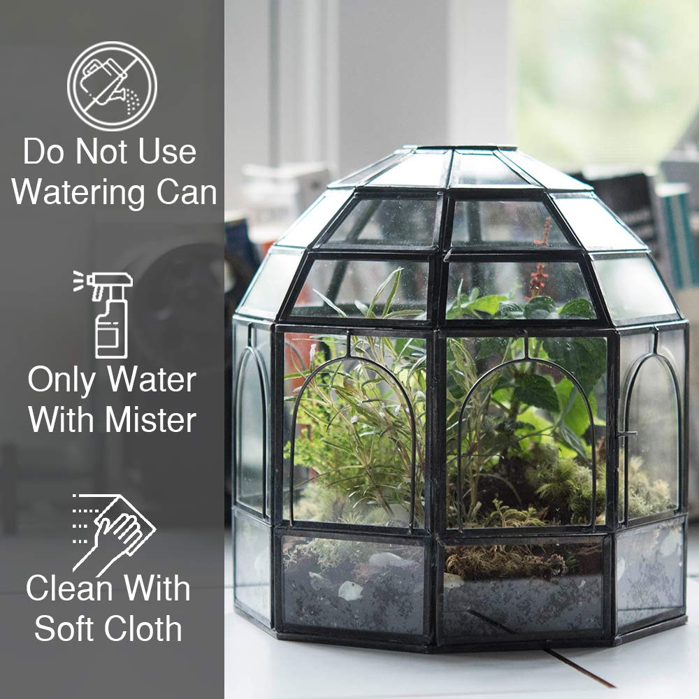 Urban Born- Large Handmade Glass Terrarium, Birdcage - 9''x9''x10'' (Burnt Antique Steel, Large) by Urban Born