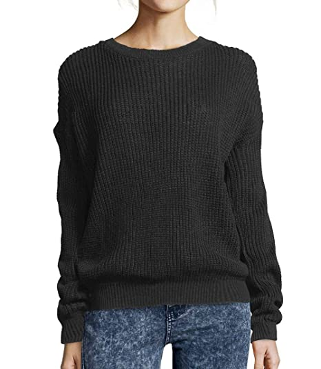 Womens Ladies Oversized Baggy Long Thick Knitted Plain Chunky Top Sweater  Jumper S-XL