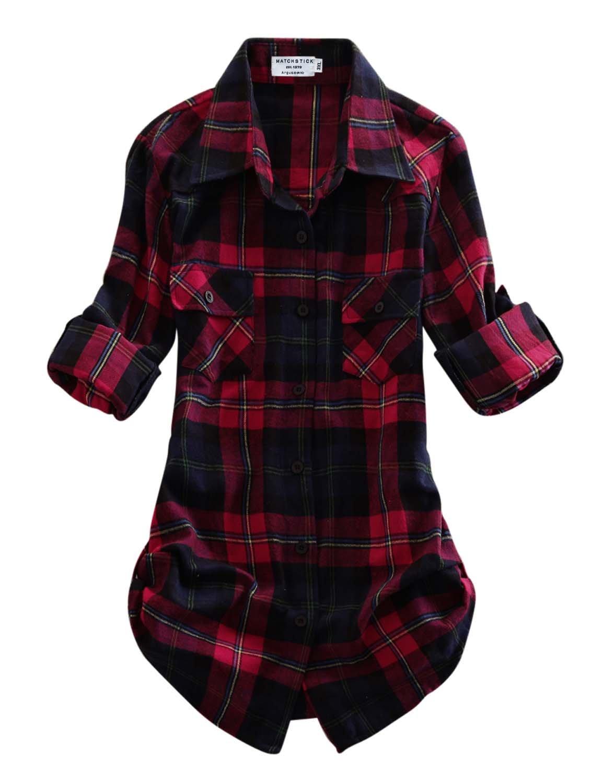 Match Women's Long Sleeve Plaid Flannel Shirt #2021(Medium, Checks#11)