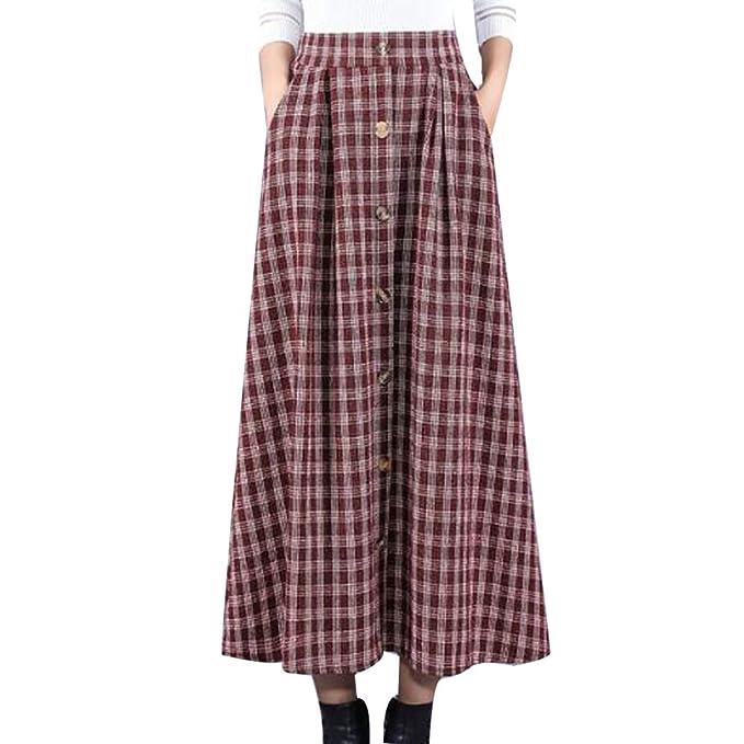 0cfdd1f0018aa Tela Escocesa De Otoño De Las Mujeres De La Tela Escocesa Plisada Cálida  Espesa Falda Larga Faldas Acampanadas De Una Línea
