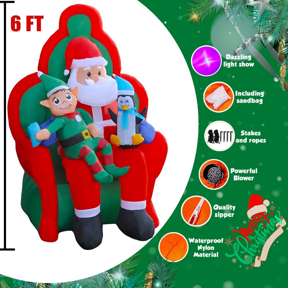SEASONBLOW 6 Ft Inflatable Christmas Santa with Elf and Penguin Xmas Decoration for Yard Lawn Garden Home Party Indoor Outdoor