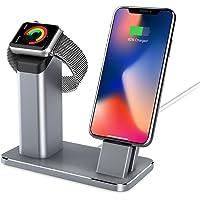 YOOTECH Apple Watch Stand, Aluminium 2 in 1 Apple Armbanduhr Ständer Ladestation, Apple Watch Ständer für iPhone X/8/8Plus/7/7Plus/6S/6S Plus/Apple Watch Serie 3/2/1-Grau