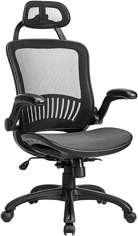 Ergonomic Mesh Office Chair Adjustable Computer Desk Chair Leather Seat Black