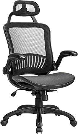 Ergonomic Rolling Swivel Mesh Chair With Lumbar Support And Headrest
